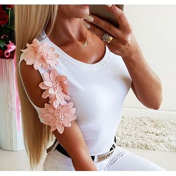 Summer new women's lace stitching fashion short-sleeved t-shirt