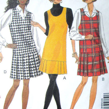 Mod Dress  jumper shift sleeveless tank style vintage 90s sewing pattern 60s style long waist box pleats Butterick 6270 women size 6 8 10