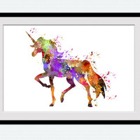 Unicorn art print Unicorn watercolor poster Home decoration Kids room wall art Nursery room decor Unicorn colorful illustration W472