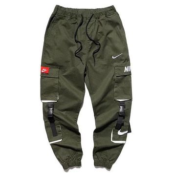 NIKE New fashion embroidery hook letter couple pants Army Green