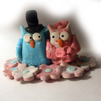 Owls wedding cake topper polymer clay by DesignByGarrity on Etsy