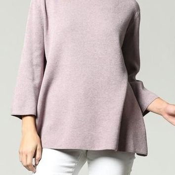 Ellis Ultra Soft Mock Neck Sweater in Purple