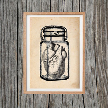 Vintage Heart Print Jar Poster Print Antique Wall Art