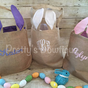 Burlap Bunny Basket-- Personalized Easter Basket -- Bunny Ears  Bucket  -- Children's Easter Bucket -- Easter Pail personalized
