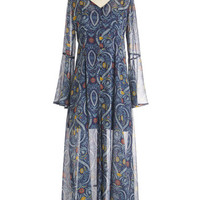 ModCloth Boho Long Long Sleeve Maxi Songwriting Goddess Dress