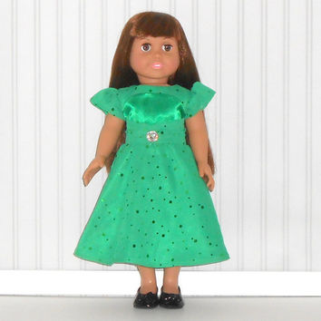 18 inch Girl Doll Emerald Green Party Dress Special Occasion Dress with Sequins Tea Length American Doll Clothes