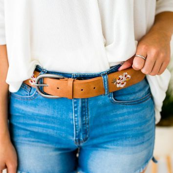 Hibiscus Embroidered Boho Belt