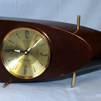 Westclox Boomerang Mahogany Wood Brass Electric Clock Atomic Era Boeing 707