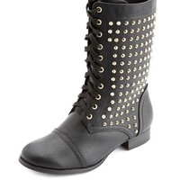 STUDDED LACE-UP COMBAT BOOTIE
