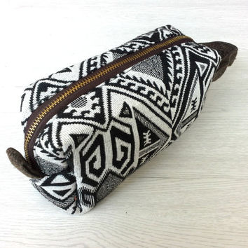 Cotton Boxy Bag, Mens toiletry Bag, Dopp kit ,Travel shaving kit bag, Cosmetic Pouch, Makeup Bag, Cute pencil case, Unique gift ideas