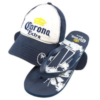 Corona - Crown Logo Adjustable Cap and Palm Tree Flip-Flops Combo Set