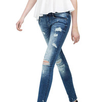 Blue Stretchable Distressed Jeans