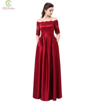 SSYFashion 2017 Wine Red Lace Embroidery Luxury Satin Half Sleeved Long Evening Dress Elegant Banquet Prom Dress Robe De Soiree