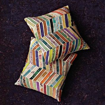 Kantha Chevron Pillow Cover