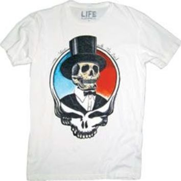 The Grateful Dead Top Hat Skull Adult White T-Shirt - The Grateful Dead - | TV Store Online