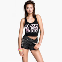 Fashion Personality Letter Print Round Neck Sleeveless Vest T-shirt Crop Top