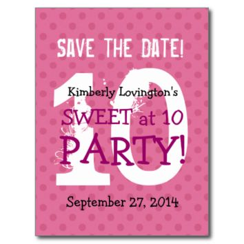 Save the Date Sweet at 10 Birthday Party V03A1 Post Cards