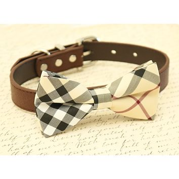Plaid Burly wood Dog Bow Tie attached to collar, Chic Dog Bow tie, dog birthday