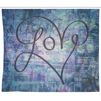 Love Tapestry Graffiti Heart Blue Tapestry Wall Hanging Meditation Yoga Grunge Hippie