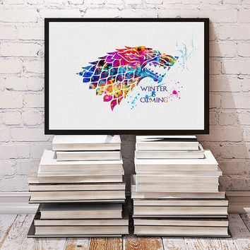 House Stark Watercolor Print, Game of Thrones inspired Illustration Game Of Thrones movie poster, Winter is coming Gift Wall Art Home Decor
