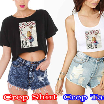 Alice in Wonderland Madhatter Chershire Cat 5d4c4c65-ba11-4837-9839-a469d3c5c801 For Crop Shirt and Crop Tank Sexy Shirt Women S, M, L, XL, 2XL*02*