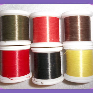 KEVLAR Thread Spools 6 Colors New 50 Yards Each  Size 3/0 Fire Retardant Sewing Fly Tying