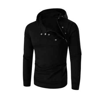 2016 Fashion Men Hooded Sweatshirt Retro Zipper Long Sleeve Hoodie Tops Jacket Coat Outwear 6Colors M~L3