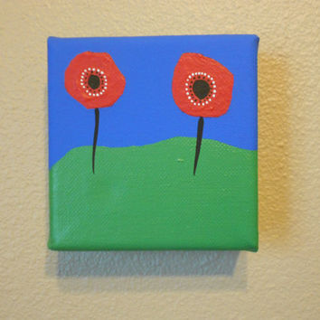 Original Painting Red Poppies Lest We Forget by Acires on Etsy