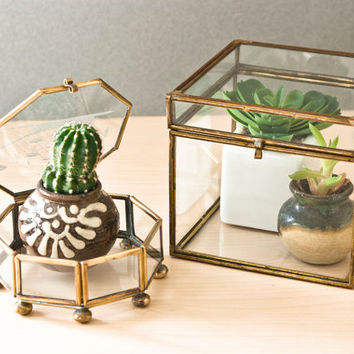 Vintage Glass and Brass Display Boxes, Curiosities or Terrarium, Trinket Box (Pair) Cut Glass Ship