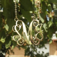 """Gold Monogram necklace - 1.5"""" inch Personalized Monogram - 18k Gold Plated Christmas Gift"""