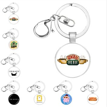 New TV Friends keychain Central Perk Coffee Time glass figure keyring Key chains Pendants Christmas charm gift fashion jewelry