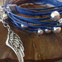 SKY  WRAP BRACELET in blue with silver beads and by AsaiBolivien 7,89 us$