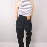 Vintage (MEDIUM) Levis Black High Waisted Denim Jeans