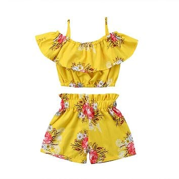 2018 Summer Toddler Kids Girls Royal Off Shoulder Yellow Floral Strap Tops Shorts Outfits Set Cute Summer Novelty Clothes