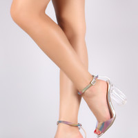 Qupid Holographic Rainbow Illusion Ankle Strap Chunky Lucite Heel