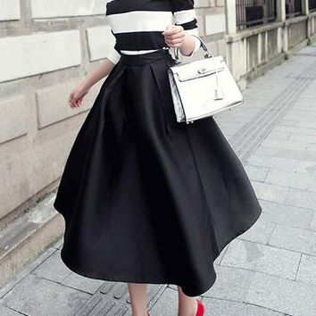 Black Pleated Pockets Tutu High Waisted Hepburn Going out Skirt
