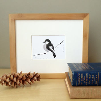 framed original ink painting // solid bamboo frame