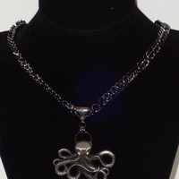 Octopus with Crystal Eyes Steampunk Inspired Pendant on a Half Persian Necklace...SRAJD