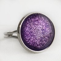 Purple Sparkle Cocktail Ring in Silver - Bright Royal Violet Purple Statement Ring