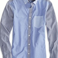 AEO Men's Colorblock Button Down Shirt (Blue)
