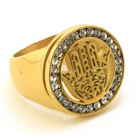 316L STAINLESS STEEL HAMSA GOLD RING 8-12 BR015G