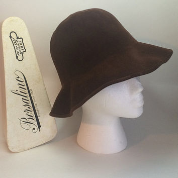 Borsalino Bucket Hat Brown Soft Felted Wool Floppy Womens Size Small Paris Boho Chic in Grand Prix Box Soaring Hawk Vintage Free US Shipping