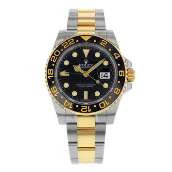 NEW Rolex GMT Master II Stainless Steel and 18K Yellow Gold Mens watch 116713 LN