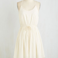 ModCloth Long Sleeveless A-line Right to Delight Dress in Pearl