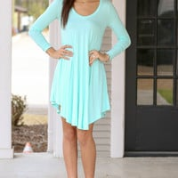 Light Blue Asymmetrical Long Sleeved Knit Dress