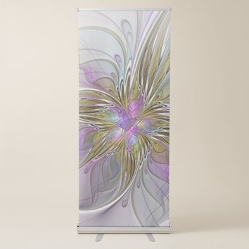 Floral Colorful Abstract Fractal With Pink & Gold Retractable Banner