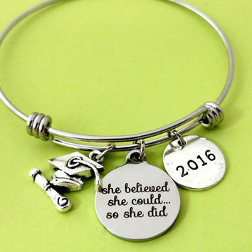 Graduation, Birthday, Gift, Class Of 2016, Bangle, Bracelet, Imagine, Believe, Achieve, Year, 2016, Gift, Birthday, Graduation, Jewelry