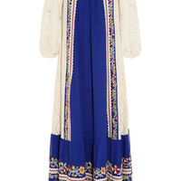 Vineet Bahl - Crocheted cotton and embroidered crepe maxi dress