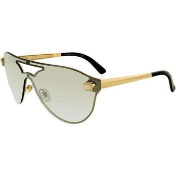 VONE6YT Versace Women's VE2161-10026G-42 Gold Shield Sunglasses