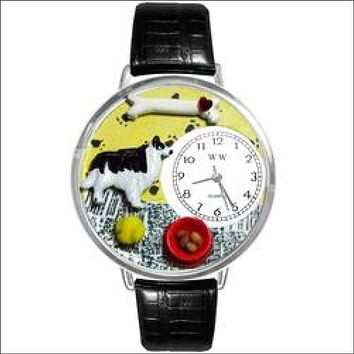 Border Collie Watch in Silver (Large)